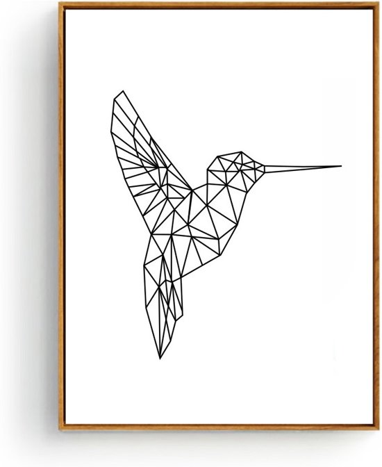 Postercity - Design Canvas Poster Lijnen Woodpecker - Specht / Muurdecoratie / 40 x 30cm / A3