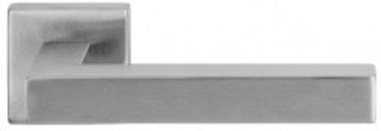 Deurkruk Kubus RVS, krukstel op vierkant rozet 52mm
