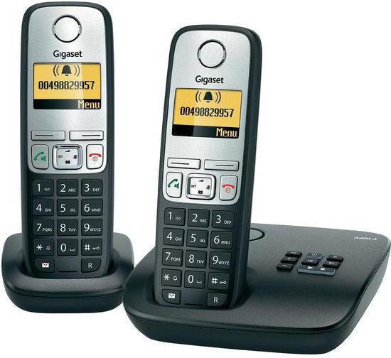 Gigaset A400A - Duo DECT telefoon met antwoordapparaat - Zwart