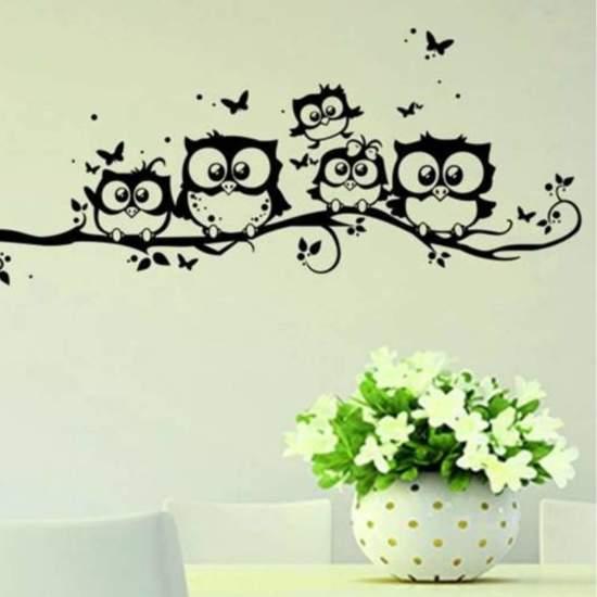 Uil muursticker muurdecoratie kinderkamer for Dibujos para decorar paredes