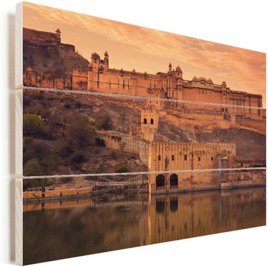 Fort Amber op de heuvels tijdens de zonsondergang in India Vurenhout met planken 120x80 cm - Foto print op Hout (Wanddecoratie)