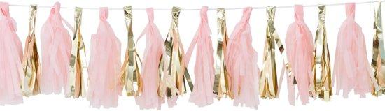 Babyshower decoratie Oh Baby! Tassel kwasten slinger - Roze & goud - (2 meter) Valentinaa