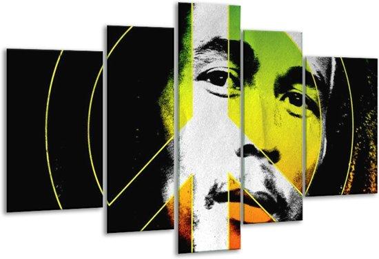 Glasschilderij Man | Groen, Zwart, Oranje | 170x100cm 5Luik | Foto print op Glas |  F003689