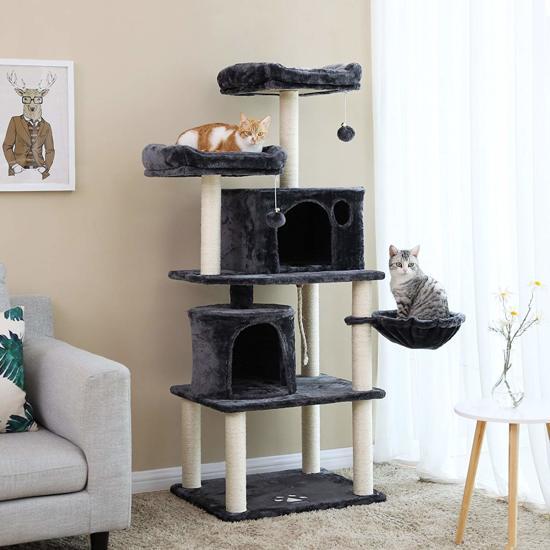 Luxe Krabpaal voor Maximaal 3 Katten - Meerdere Huisjes en Mandjes - 60x50x140cm - Donkergrijs