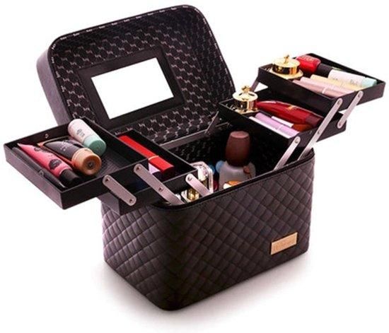 Make Up Koffer - Uitklapbare Make Up Case Met 5 Opbergbakken - Make Up Koffer met Spiegel - Zwart