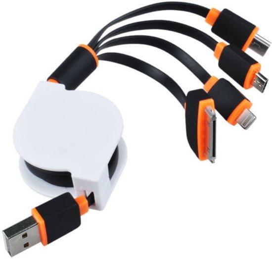 oprolbare 4 in 1 oplader voor iphone ipod samsung lightning usb kabel. Black Bedroom Furniture Sets. Home Design Ideas