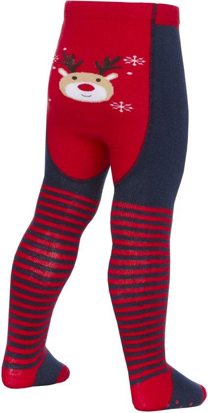 kerst baby maillot blauw met rood en rendier afbeelding - anti slip 12-18mnd