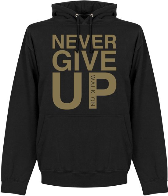 Never Give Up Liverpool Hoodie - Zwart/ Goud - L
