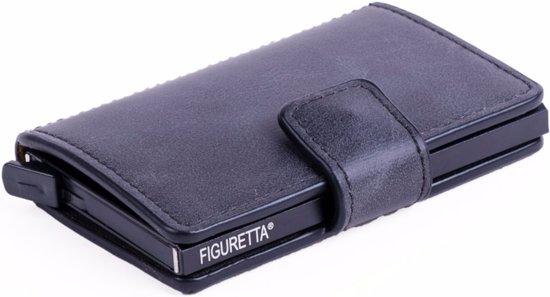 PU-lederen  uitschuifbare cardprotector portemonnee - zwart
