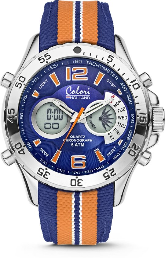48 Blauw Nylon Sports Colori Mm Cld133 Digitaal Horloge Ø Band Oranje 5 Holland c3R4Aq5LSj