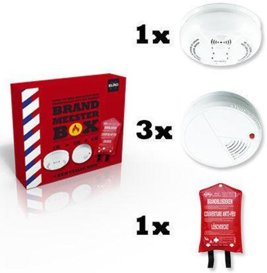 Elro Brandpreventieset - Inclusief 3 rookmelders, 1 blusdeken en 1 CO-melder