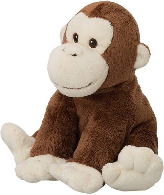 Pluche bruine chimpansee aap/apen knuffel 18 cm - Chimpansee aap/apen dieren knuffels - Speelgoed voor kinderen