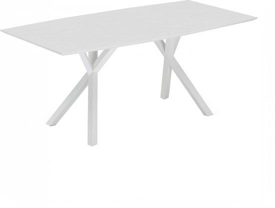 Witte Tafel 180x90.Bol Com Beliani Lisala Eettafel Hout Wit 180 X 90 Cm