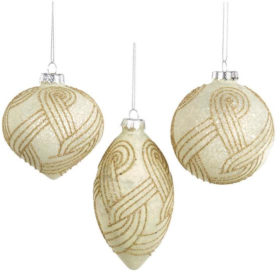 Goodwill Kerstbal Glas Goud Beige H 8 cm  Voordeelaanbod assortiment van 3 stuks