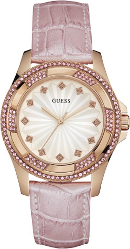 Guess Watches W0703L1 Pinwheel - Horloge - Leer - Roze - 39.5 mm