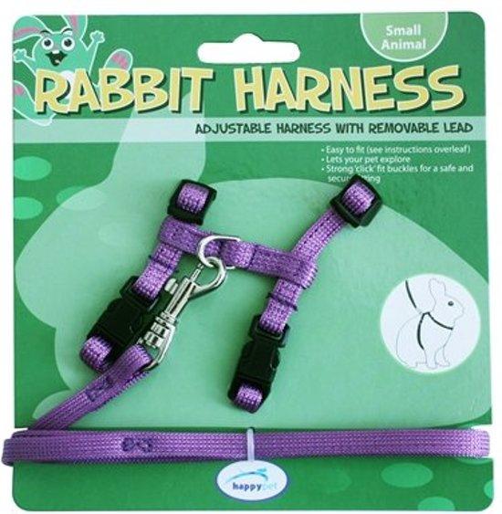 Happy Pet Harnas en Looplijn - Konijnen Tuigjes - Paars