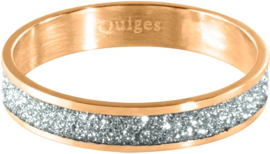 Quiges Stapelring Ring - Vulring zilverkleurig Glitter - Dames - RVS roségoudkleurig - Maat 21 - Hoogte 4mm