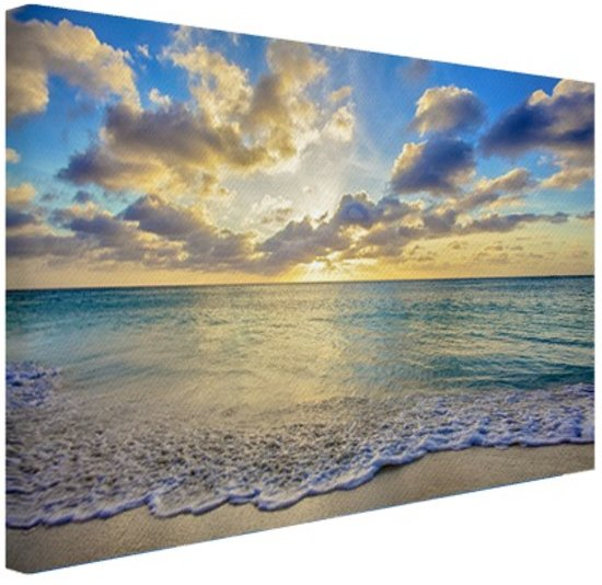 zonsopkomst boven de zee canvas 120x80 cm foto. Black Bedroom Furniture Sets. Home Design Ideas