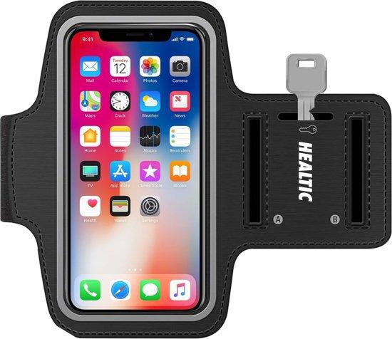 Universele Smartphone Hardloop Armband Zwart/ Hardloopband Sportband -  Hardloopband - Sportband - Hardloop Riem Met Smartphone Houder / Spatwatervrij, Reflecterend, Neopreen, Verstelbaar, Koptelefoon Aansluitruimte en Sleutelhouder! Healtic