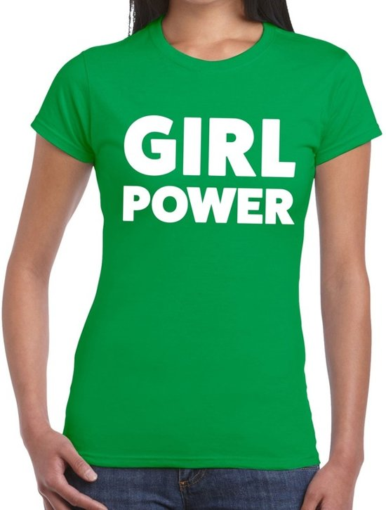 Girl Power tekst t-shirt groen dames - dames shirt  Girl Power M