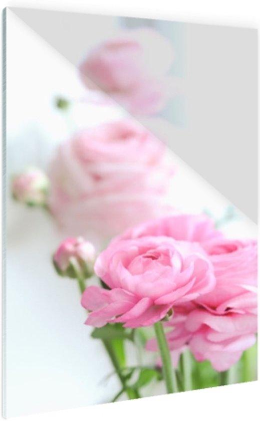 Close-up van roze rozen Glas 20x30 cm - Foto print op Glas (Plexiglas wanddecoratie)