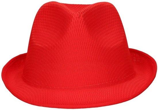 Rood trilby hoedje/gleufhoed voor volwassenen - Gleufhoeden - Partyhoeden - Verkleed hoedjes