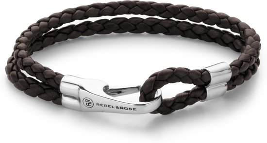 Rebel&Rose armband - Double Round Hook Chestnut Brown M (19,5cm)