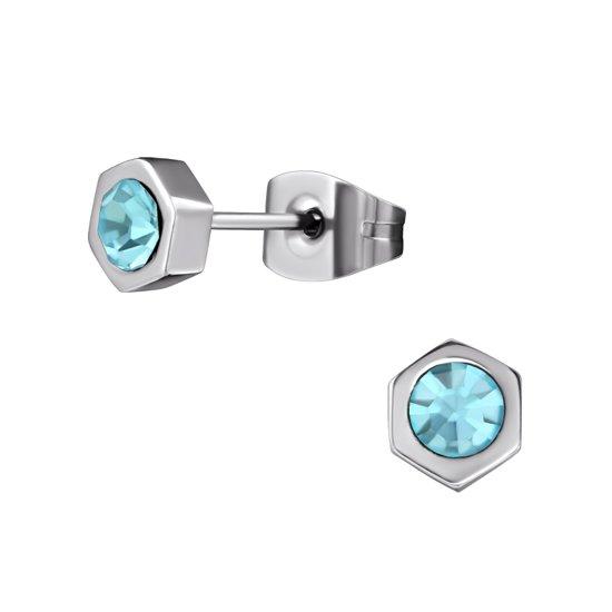zweerknopjes zeshoek-licht blauw-kristal-staal-zilverkleurig-5mm