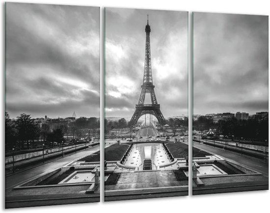 Glas schilderij Parijs, Eiffeltoren   Zwart, Wit, Grijs   120x80cm 3Luik   Foto print op Glas    F006802