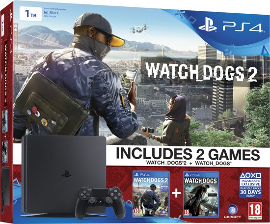 Sony Playstation 4 Slim Watch dogs 1 & 2 Console 1TB - Zwart PS4