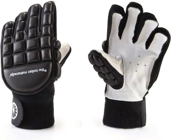 The Indian Maharadja Glove Long Finger Sr. - Zaalhockeyhandschoen - Links - Maat M - Zwart/ Wit