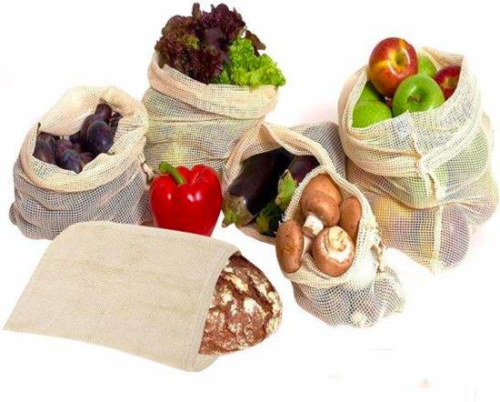 Fruit en groente zak - Herbruikbare mesh zak - Wasbaar - Katoenen beschermzak - Broodzak - Milieuvriendelijke tas - Buitenhuis - Gratis verzending