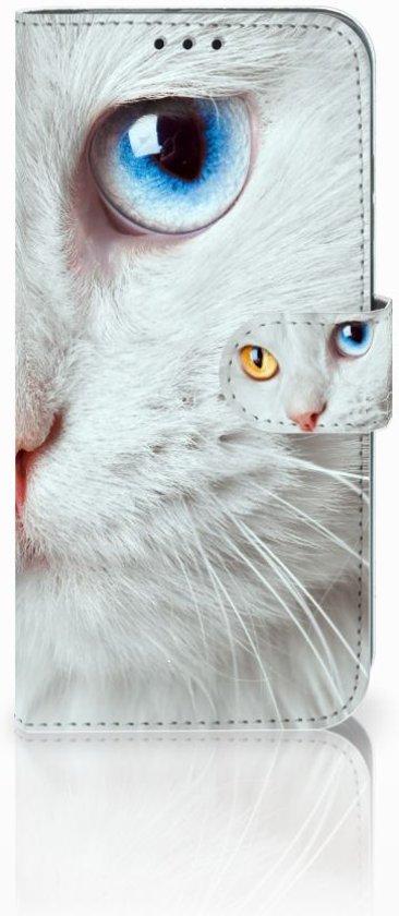 Honor 10 Lite Uniek Boekhoesje Witte Kat