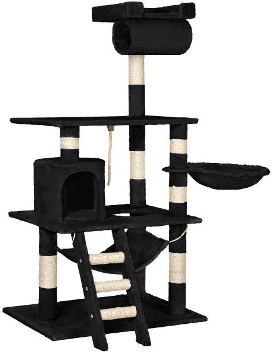 TecTake - Katten kitten krabpaal klimpaal - Stokely - 141cm - zwart - 402277