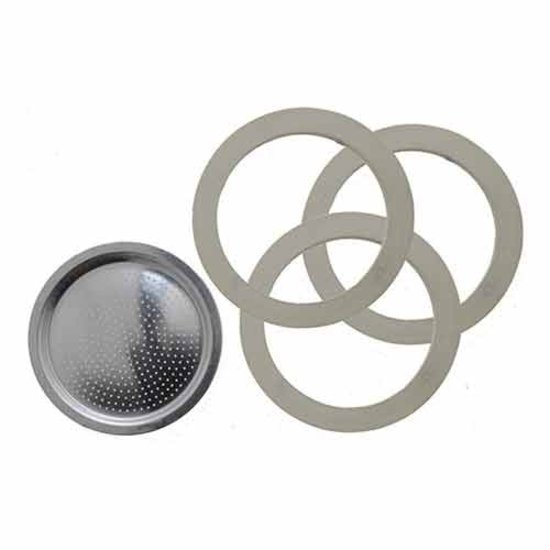 Bialetti filterplaatje + rubber ringen - 3 en 4 kops