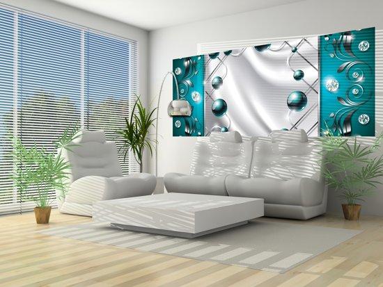 bol.com | Fotobehang Modern, Slaapkamer | Zilver, Turquoise | 250x104cm