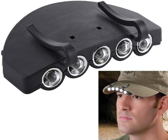 Koplamp Lamp Cap Torch Lamp, 5 LED Wit Licht, voor Outdoor Vissen Camping Jacht (Zwart)