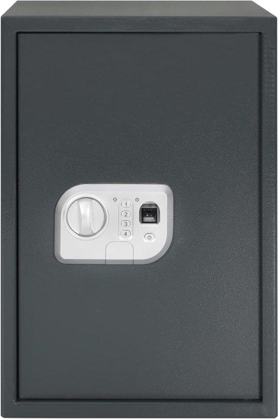 vidaXL Kluis digitaal met vingerafdruk 35x31x50 cm donkergrijs