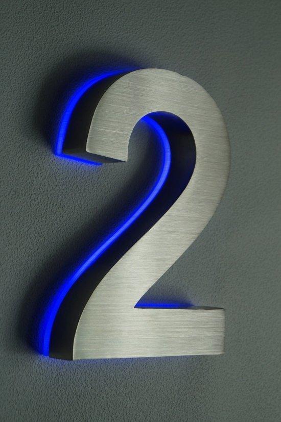 bol.com | Huisnummer met LED verlichting van RVS | Hoogte 20cm Nummer 2