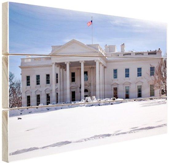 Witte Huis bij sneeuwval Hout 120x80 cm - Foto print op Hout (Wanddecoratie)