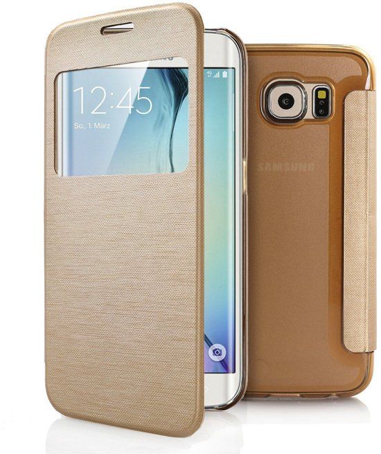 the latest 31f2e 9d1f6 Samsung Galaxy S6 Edge Plus window view flip case cover Hoesje Goud