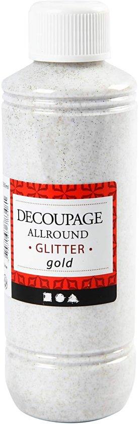 Decoupage lijmlak, goud, glitter, 250ml
