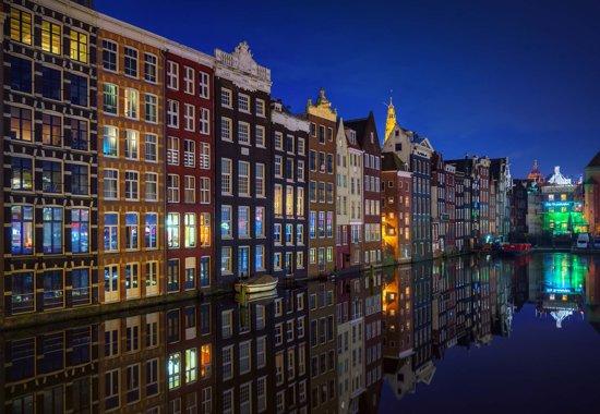 Fotobehang Amsterdam At Night |Poster - 104cm x 70.5cm|Premium Non-Woven Vlies 130gsm