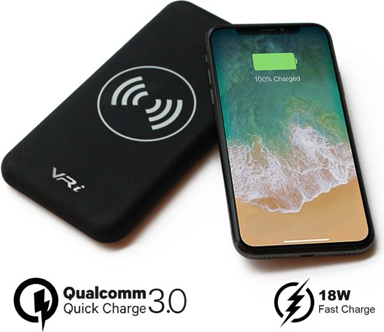 VR-i Draadloze Oplader X3 | Qi Wireless Charger 10.000 mAh Powerbank, Qualcomm 3.0 Fast Charge voor o.a. iPhone XR/XS/XS Max/X/8/8 Plus/iPad/Samsung Galaxy S9/S8/S7/S6.
