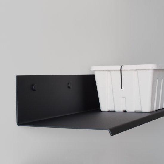 Wandplank Zwart Metaal Hout.Strip Wandplanken Boekenplanken 96 Cm Breed Zwart Metaal Poeder Coat