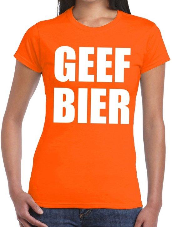 Geef Bier tekst t-shirt oranje dames S