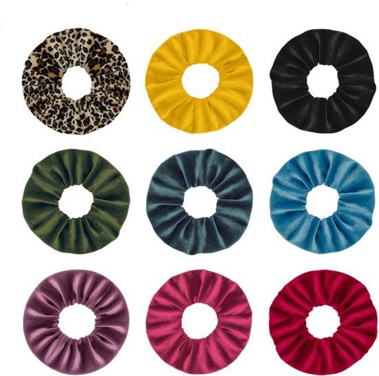 Afbeelding van Jumalu scrunchie velvet haarwokkel haarelastiekjes - oker geel, groenblauw, tijgerprint, zwart, paarsroze, rood, lichtblauw, roze en legergroen - 9 stuks