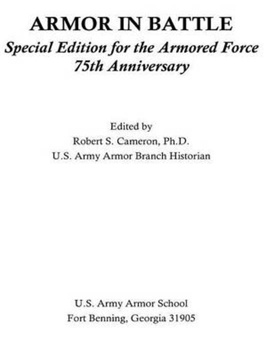 Armor in Battle Special Edition for the Armored Force 75th Anniversary