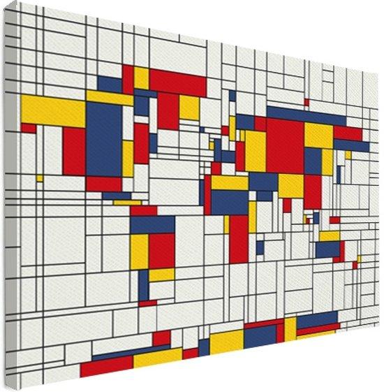 Wereldkaart mondriaan-origineel canvas Klein 40x30 cm | Wereldkaart Canvas Schilderij
