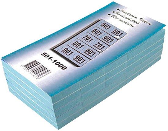 19x Garderobeblokken nummers van 501 t.e.m. 1.000, blauw